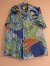 Vintage Nani of Hawaii Mark Christopher Hawaiian Shirt Blue Green Waves ... - $46.95