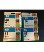 Lot of (4) 88XL Ink   Black C9396AN Magenta C9392AN Yellow C9393AN Cyan ... - $37.68