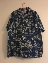 Vintage Tommy Fashion Hawaii Blue Green Grey Leaves Hawaiian Shirt Men's... - $43.95