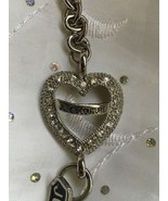 Juicy Couture Silvertone Signature Crystal Heart Charm Toggle Braclet - $58.00