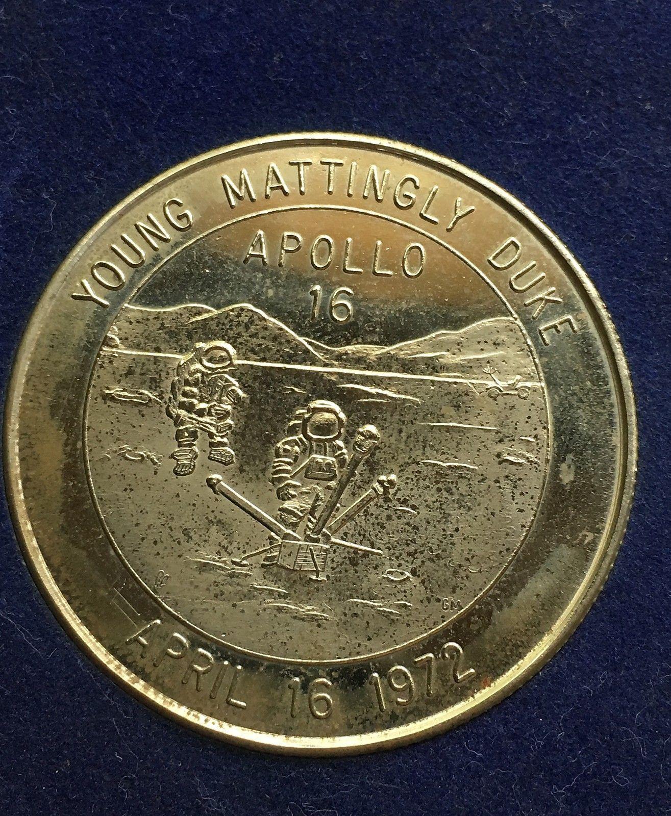 1972 USA Silver Medal Commemorative Sterling Silver Coin Apollo 16 39MM 21G