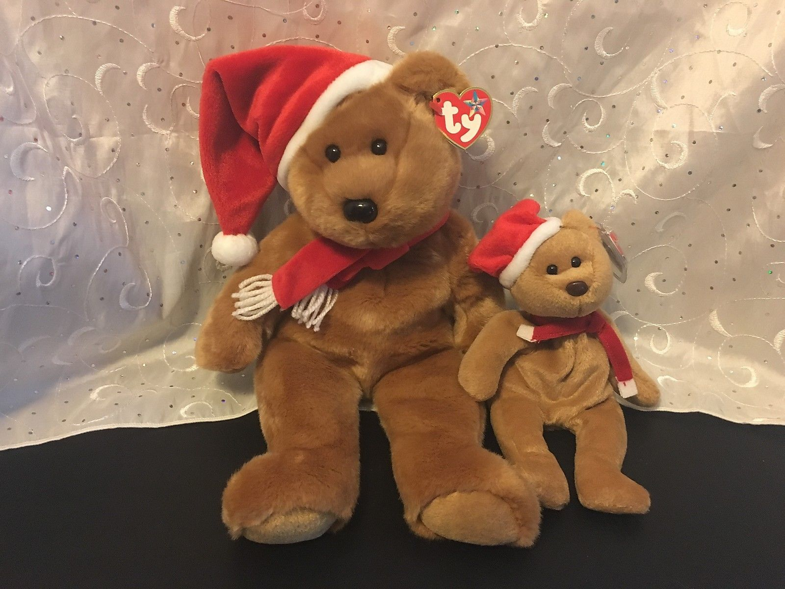 """TY BEANIE BABIES 1997 CHRISTMAS TEDDY BEAR LOT OF 2  (14"""") & ( 8"""")  HOLIDAY NWT"""