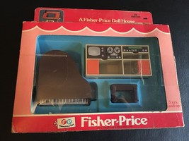 VINTAGE FISHER PRICE DOLL HOUSE DECORATOR SET MUSIC ROOM PIANO BENCH TV NEW - $43.49