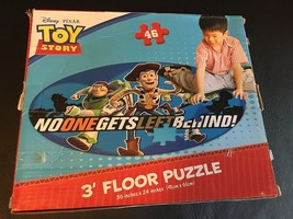 DISNEY PIXAR TOY STORY NO ONE GETS LEFT BEHIND 3' FLOOR PUZZLE BUZZ WOOD... - $16.40