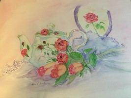 ORIGINAL SIGNED WATERCOLOR ROSE TEAPOT W/ FLORAL ACCENTS PINK PURPLE RED GREEN - $91.74