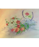 ORIGINAL SIGNED WATERCOLOR ROSE TEAPOT W/ FLORAL ACCENTS PINK PURPLE RED... - $91.74