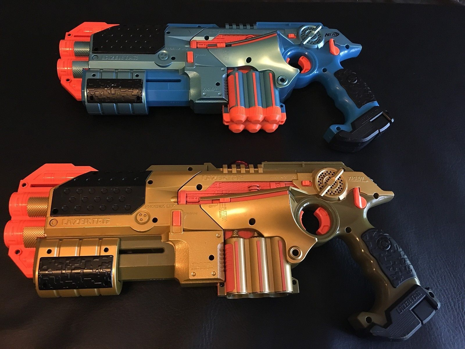 2 NERF TIGER LAZER TAG PHOENIX LTX BLASTER BLUE & GOLD LASER SHOTGUN ATTACHMENTS