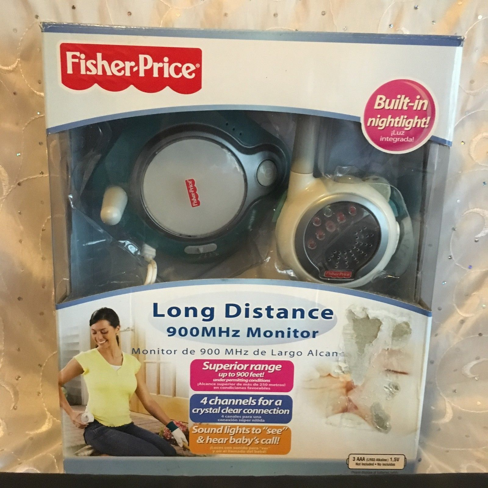 FISHER PRICE LONG DISTANCE 900MHz BABY MONITOR BUILT IN NIGHT LIGHT 4 CHANNELS