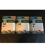 Lot of (3) HP 88 Ink Black C9385AN Magenta C9387AN Yellow C9388AN - $18.33