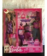 BARBIE DOLL N8820 BRUNETTE (3) FASHION OUTFITS PURPLE PINK SHOES NIB GIF... - $37.68