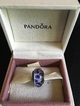 GENUINE PANDORA SILVER PURPLE SNOW LEOPARD MURANO GLASS CHARM BEAD 790943 - $66.71