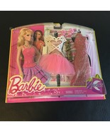 BARBIE DOLL NIGHT FASHION 2 OUTFIT CLOTHING SET PINK & GOLD FASHIONISTA ... - $24.14