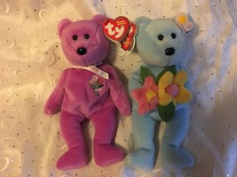 Ty B EAN Ies Bluebonnet & Mother 2004 Pink And Blue Bears Lot Of (2) Nwt Mint - $14.46