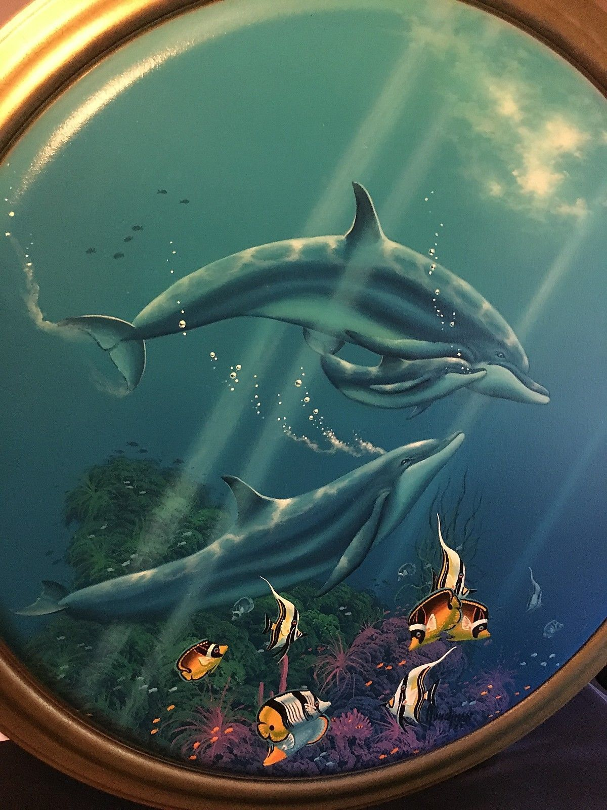 "Original Oil Painting Dolphins Tropical Fish & Sea Life Kenneth Aunchman 30""X30"""