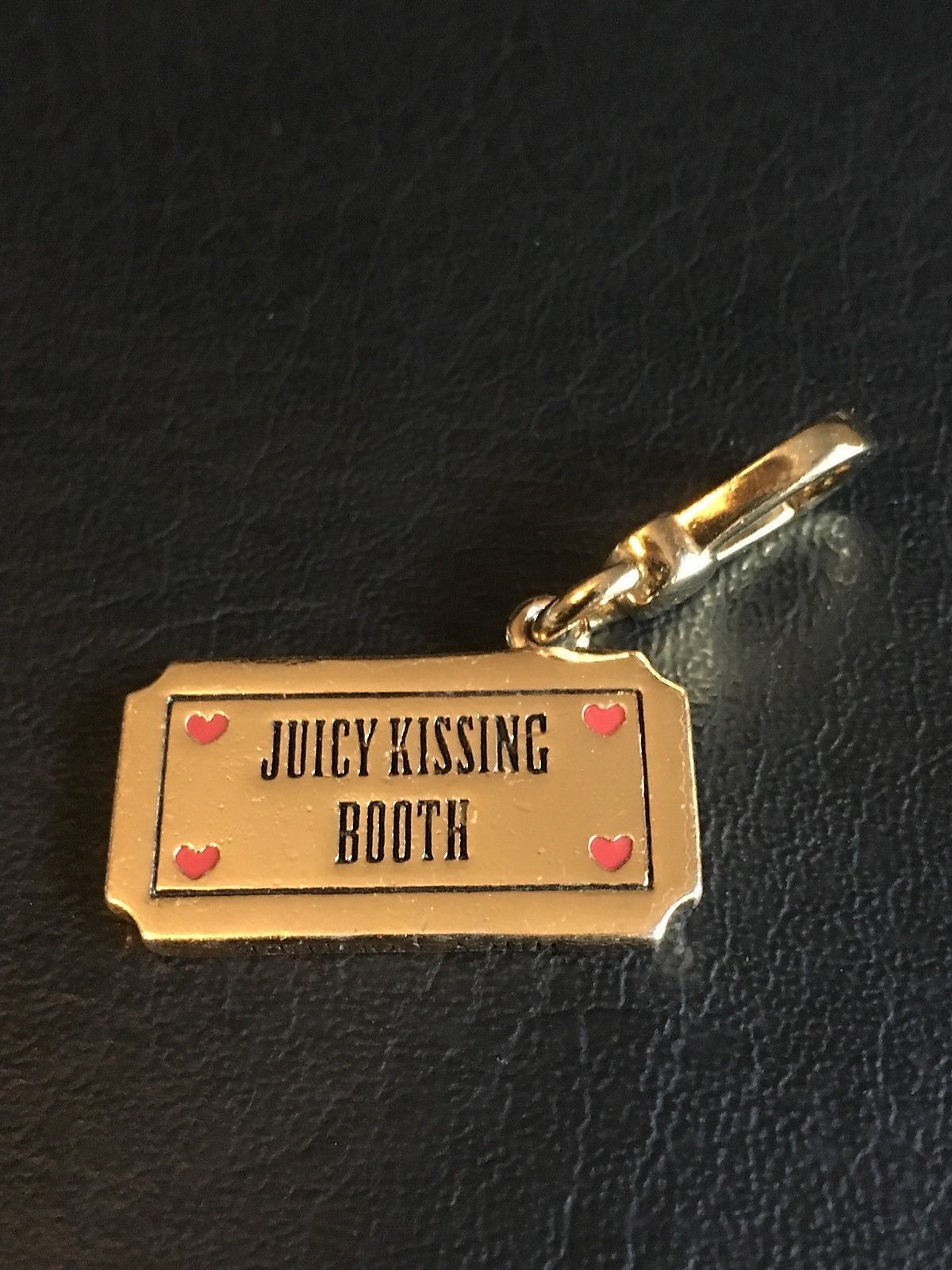 JUICY COUTURE GOLD CRYSTAL KISSING BOOTH TICKET BRACELET CHARM
