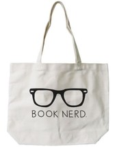 Book Nerd Canvas Tote Bag - 100% Cotton Eco Bag, Shopping Bag, Book Bag - $15.99