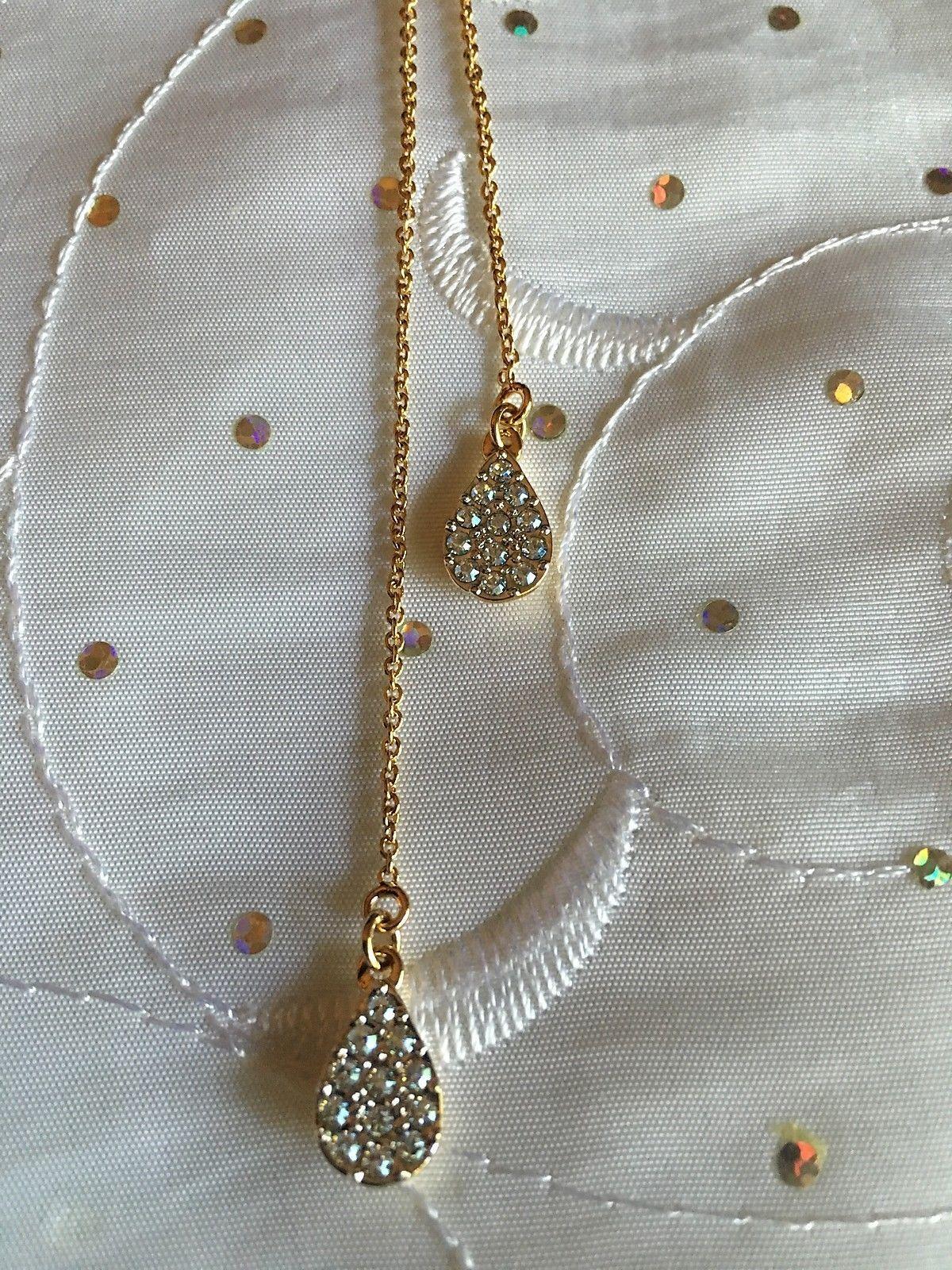 Touchstone Swarovski Pavé Teardrop Pendant Necklace Gold plated Sterling Silver