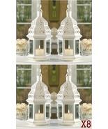 8 Creamy White Clear Glass Iron Wedding Candle Lanterns Centerpieces Par... - $93.97