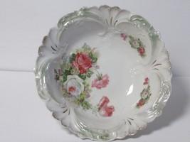 Antique/Vintage Porcelain Bowl With Floral Design Gold Trim Ruffled Edge - $46.75