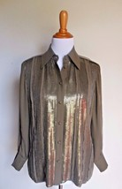 ELLEN TRACY ~ 4 SMALL BROWN SEQUIN EMBELLISHED 100% SILK BUTTON BLOUSE TOP - $12.00