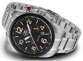 Firefox FFS305-102S schwarz Men's Luxury Wrist Watch Dual Time Stainless... - $349.00