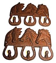 Rustic Iron 3 Horse Head Coat/Hat/Towels Hooks-... - $29.00