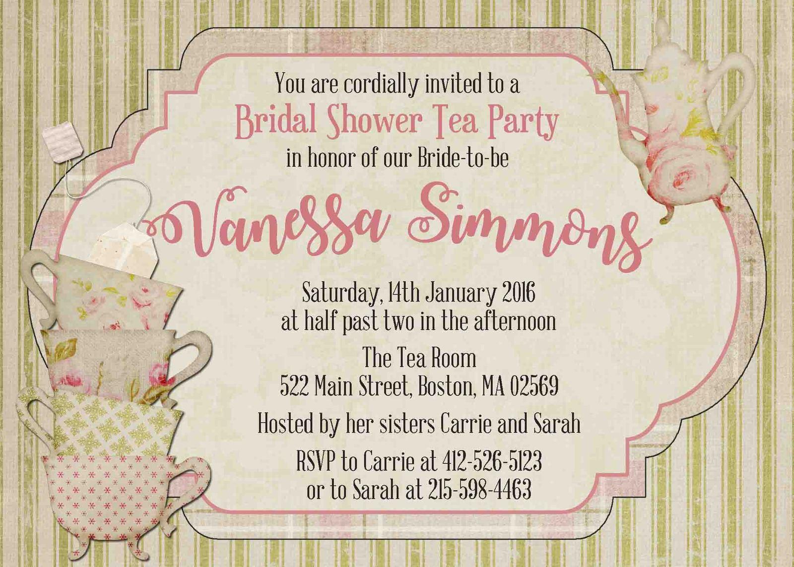 Vintage bridal shower tea party invitation personalized for Classic bridal shower invitations