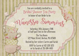 Vintage Bridal Shower Tea Party Invitation - Personalized - Tea cups - T... - $0.99