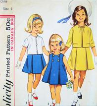 Simplicity 5341 Vintage 60s Girls Sz 4 Jumper Dress Jacket  - $9.95