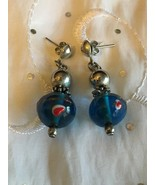 BLOWN GLASS SILVER BEAD POST ART EARRINGS BLUE W/ RED WHITE GOLD ACCENTS... - $19.30
