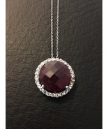 .925  SILVER 11.04 CT ROUND INDIAN RUBY GEMSTONE  WHITE TOPAZ NECKLACE P... - $28.98