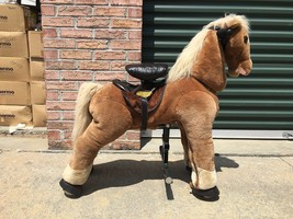 LITTLE TIKES GIDDY UP 'N' GO PONY RIDE ON PLUSH FUR HORSE GREAT CONDITION! - $241.70