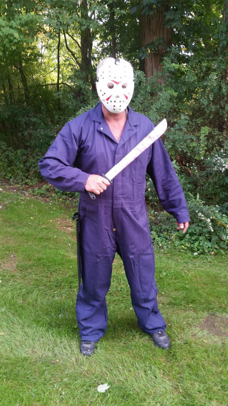 Friday The 13Th Jason Voorhees Mens Costume real machette mask and overalls