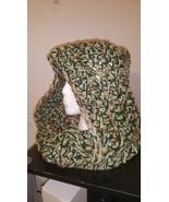 Hooded Neck Warmer Handmade/Green, Gold & White - $45.00