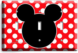 Mickey Mouse Ears Polka Dots Triple Light Switch Wall Plate Cover Baby Nursery - $16.19