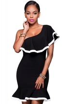Black White Trim Single/Off Shoulder Dress  - $23.95