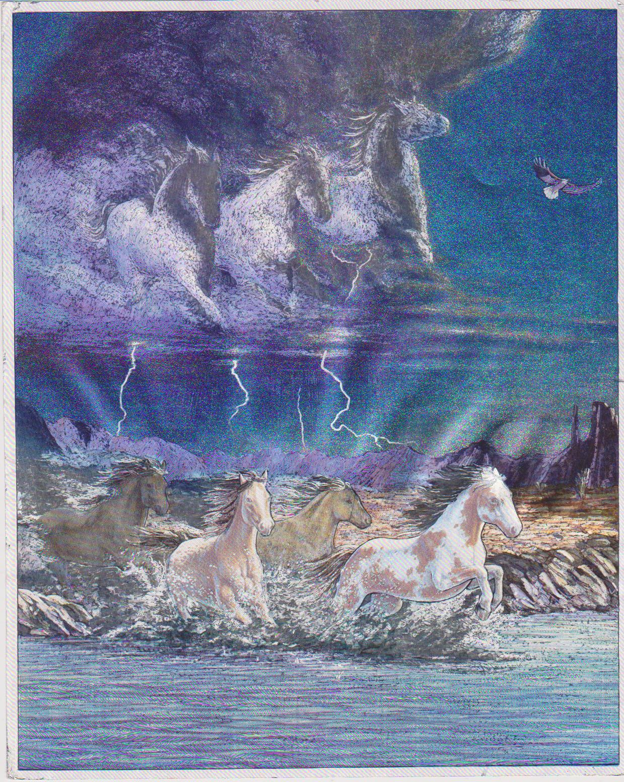 Primary image for Horses Thundering Hooves Vintage 8X10 Animal Foil Print