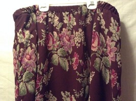 Great Condition Gayle Burbark 100% Polyester Maroon Green Pink Floral Skirt image 3