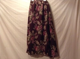 Great Condition Gayle Burbark 100% Polyester Maroon Green Pink Floral Skirt image 4