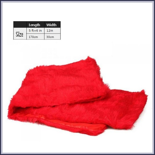 Long Red Dyed Mink Faux Fur Wrap Stole