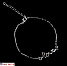 USA Silver Plated Love Letter Anklet Chain Ankle Charm Bracelet Foot Jewelry - $6.92