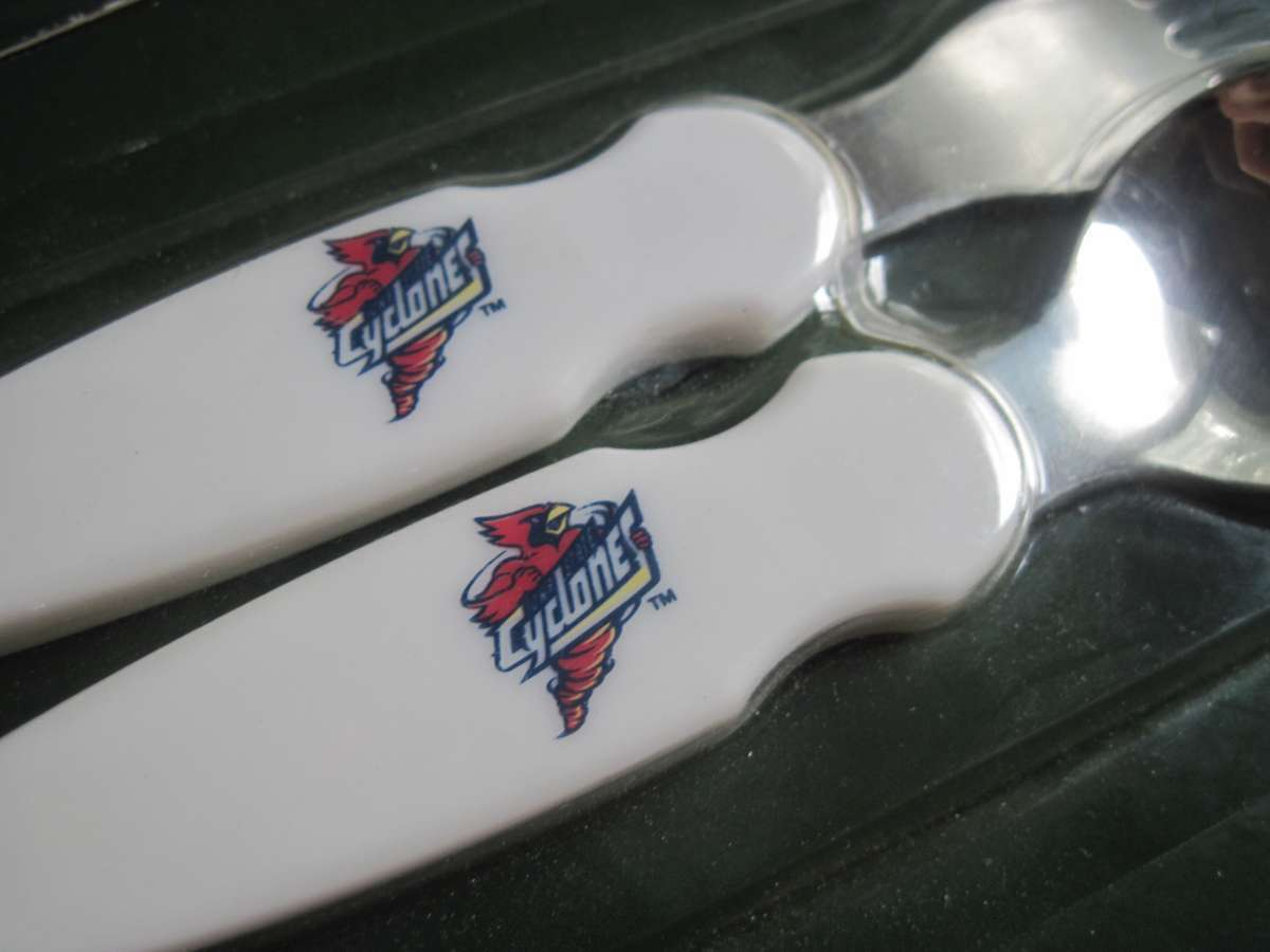 Primary image for 2 Sets Iowa State Cyclones Cy Hawk Toddler Fork & Spoon Collegiate Baby Ware