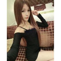 pf120 Cutie long sleeve halter mini dress w hairy trim,size s-xl,black - $28.80