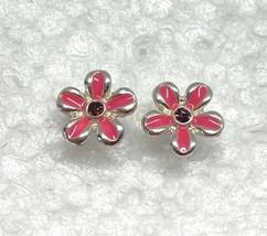 """Vintage Pink Flowers Small Stud Earrings 1/4"""" Enameled Silver Tone - $11.95"""
