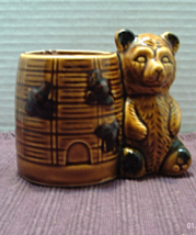 Vintage Brown Glazed Honey Pot With Bear // Honey Pot // Planter - $10.05