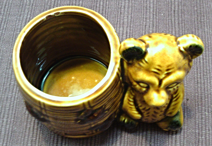 Vintage Brown Glazed Honey Pot With Bear // Honey Pot // Planter