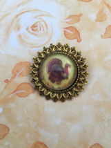 Sweet Thanksgiving Turkey Glass Pin / Brooch  - $5.50