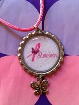Survivor Pink Ribbon Butterfly  Bottle cap Necklace - End Of Treatment - $6.25