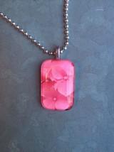 Close Up Pink Hydrangea Blossoms Glass Tile Pendant - $8.75