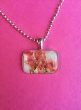 Pretty Pink Tulip Bouquet Glass Tile Pendant - $8.75